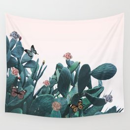 Cactus & Flowers - Follow your butterflies Wall Tapestry
