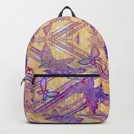 Filigree Butterfly Stencil Art Print | Chinoiserie Chic Watercolor Print in Purple, Yellow Backpack