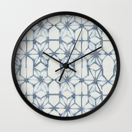 Simply Shibori Stars in Indigo Blue on Lunar Gray Wall Clock