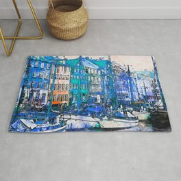 Scenic Boats laid by aside Vintage Buildings Rug