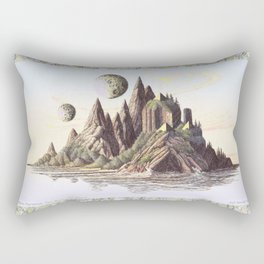 THREE PYRAMIDS, TWO MOONS, ONE ISLAND, VINTAGE PEN AND PENCIL DRAWING Rectangular Pillow