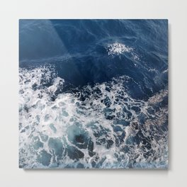 Seafoam Blue Waves Movement Metal Print