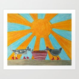 Peter and Lilly Breakfast Art Print