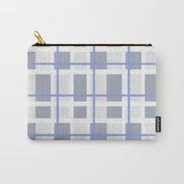 Retro Abstract Plaid Blue and Gray Carry-All Pouch