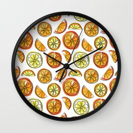 Illustrated Oranges and Limes Wall Clock
