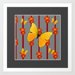 YELLOW BUTTERFLIES ORANGE POPPY FLOWERS BLACK ART Art Print