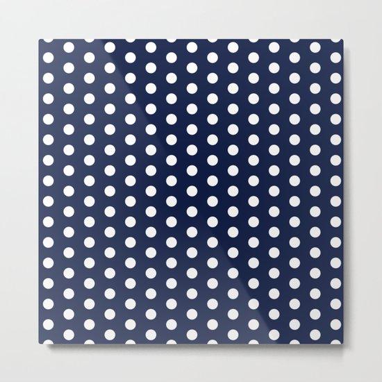 Indigo Navy Blue Polka Dot Metal Print