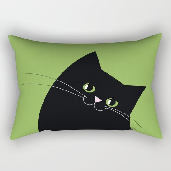 Black Cat and Color of the Year 2017, Greenery Rectangular Pillow