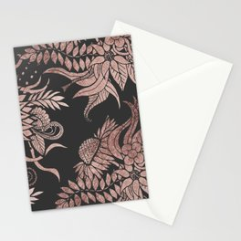 Chic Rose Gold and Black Floral Drawings Stationery Cards