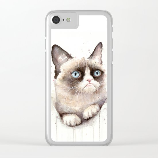 Grumpy Watercolor Cat Clear iPhone Case