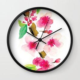 Cherry blossom watercolor Wall Clock