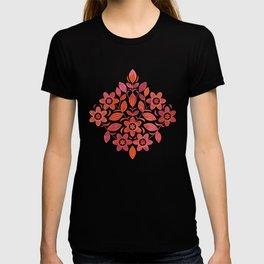 Nordic Linocut Flora - Pink & Orange on Plum (pattern) T-shirt