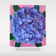 BLUE ABSTRACTED HYDRANGEA YELLOW-PINK Shower Curtain