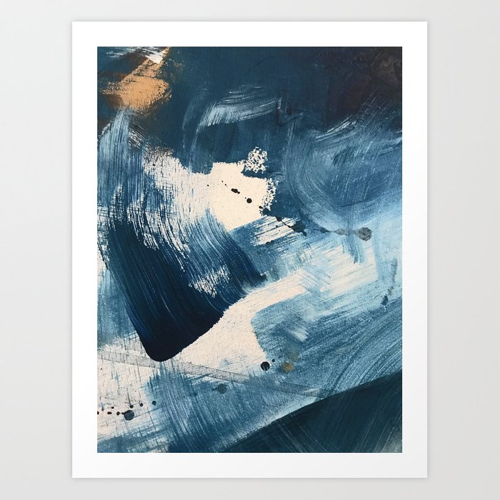 Against the Current: A bold, minimal abstract acrylic piece in blue, white and gold Art Print