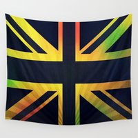 rasta Wall Tapestries featuring RASTA BRITISH FLAG by shannon's art space