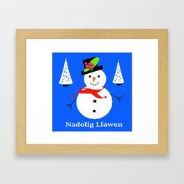 Nadolig Llawen, Merry  Christmas snowman Wales Framed Art Print