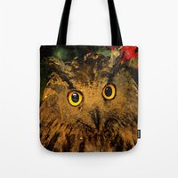 owls Tote Bags featuring Owls by Ganech joe