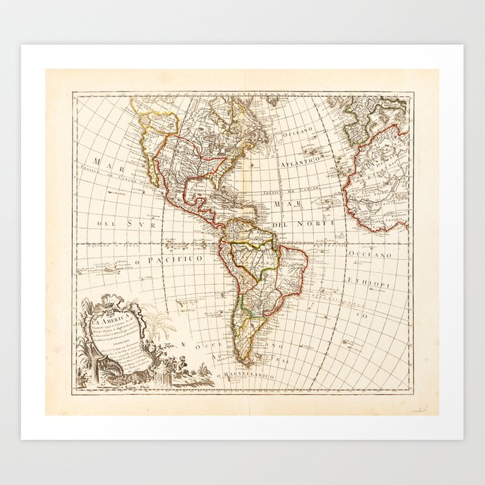 North and South America Map (1754) Art Print by thearts