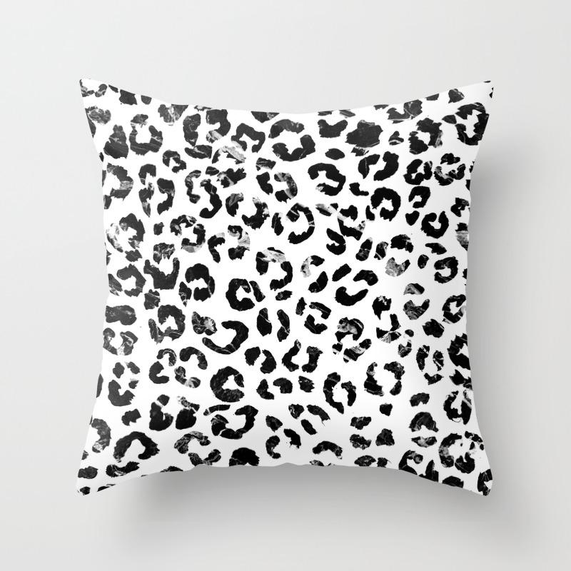 Modern Black White Marble Stylish Leopard Pattern Throw Pillow