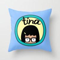tina fey Throw Pillows featuring Tina by Page394
