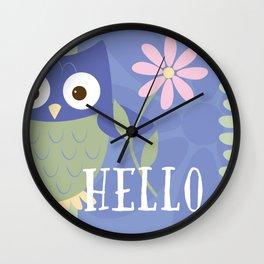 Hello Baby Owl Wall Clock