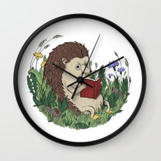 Hedgehog Reading A Book Wall Clock