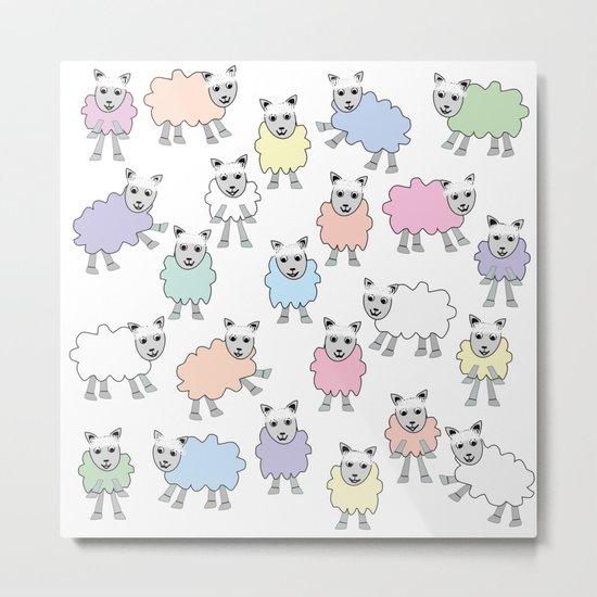 Colorful Counting Sheep Bedtime Pattern Metal Print