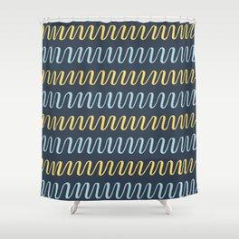 blue yellow stripes on dark Shower Curtain