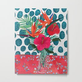 Tropical Bouquet in Living Coral and Emerald Green Metal Print