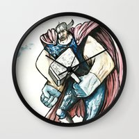 thor Wall Clocks featuring Thor by Crooked Octopus