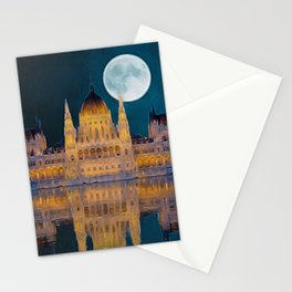 House of the Nation   Hungarian Parliament Building - Oil Painting Stationery Cards