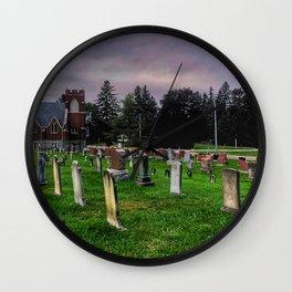 Country Church Cemetery Wall Clock