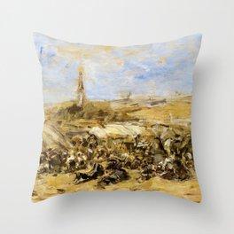 Eugene Louis Boudin - Pardon Of Ste-anne-la-palud - Digital Remastered Edition Throw Pillow