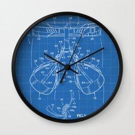Rock Climbing Harness Patent - Rock Climber Art - Blueprint Wall Clock