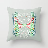 tigers Throw Pillows featuring Tigers #2 by Ornaart