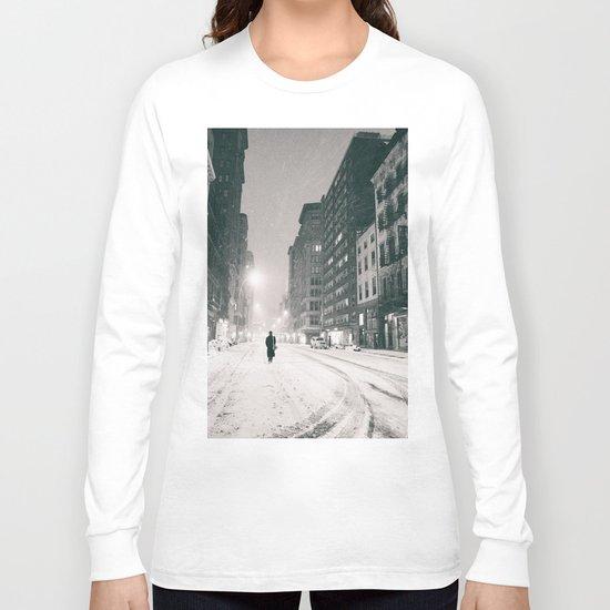 New York - Snow at Night Long Sleeve T-shirt