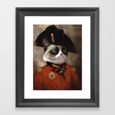 Angry cat. Grumpy General Cat.  Framed Art Print