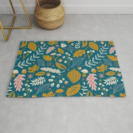 Fall Foliage in Blue and Gold Rug