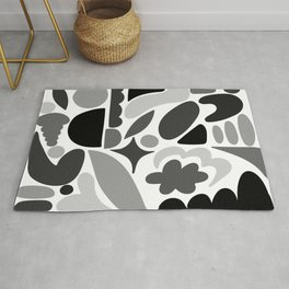 Modern Organic Abstract / Black and Grays on a White Background Rug