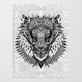 lion aztec art pattern Poster