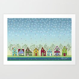 Doodle Houses Art Print