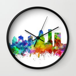 louisville skyline watercolor Wall Clock
