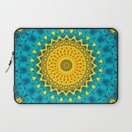 Birds of Paradise Geometric Circle Pattern \\ Tropical Beach House Vibes \\ Green Yellow Blue Colors Laptop Sleeve