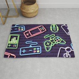 Neon Video Game Accessories Pattern Rug