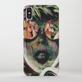 wild one mixed media, collage, vintage photography, bold, bright, beautiful iPhone Case