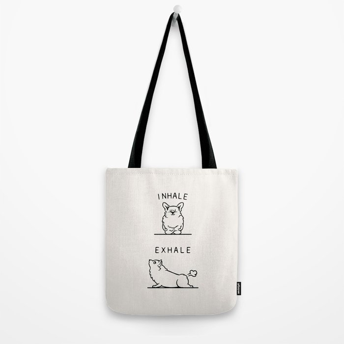 Inhale Exhale Corgi Tote Bag