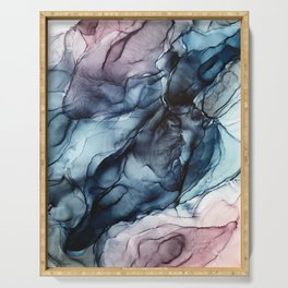 Blush and Darkness Abstract Paintings Serving Tray