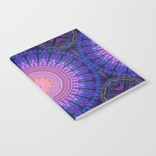 Scratchy mandala with tribal patterns and little flowers Notebook