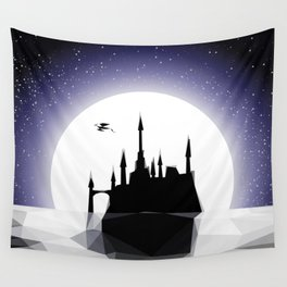 Moonlight Stanza - Night Sea, Castle & the Moon Wall Tapestry
