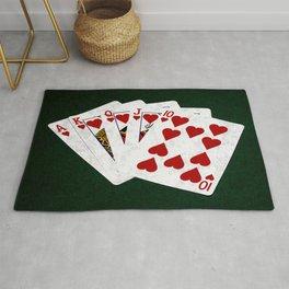 Poker Royal Flush Hearts Rug